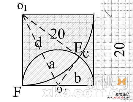 题中给出一个正方形,正方形里面有一个扇形和一个半