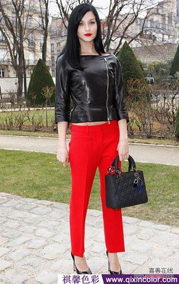 黑皮衣红裤子