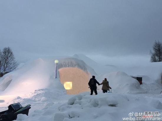 林依晨晒北欧雪景图片