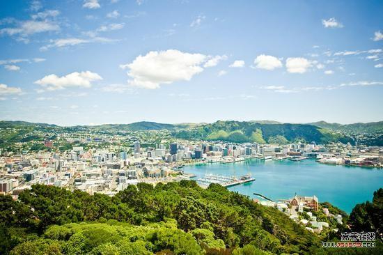 从维多利亚山俯瞰惠灵顿港口、中央商务区和绿化带保护区 图片来源:新西兰旅游局