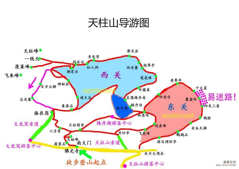 天柱山路线图